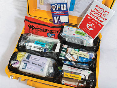 first aid kit and medical supplies